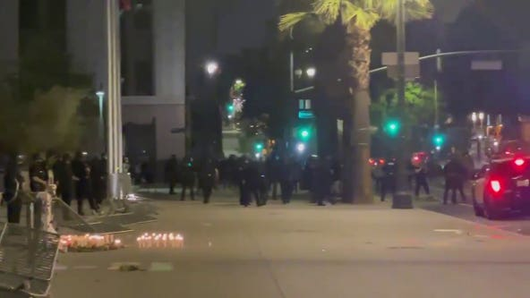Daunte Wright protest: Crowd clears out after unlawful assembly declared in downtown Los Angeles
