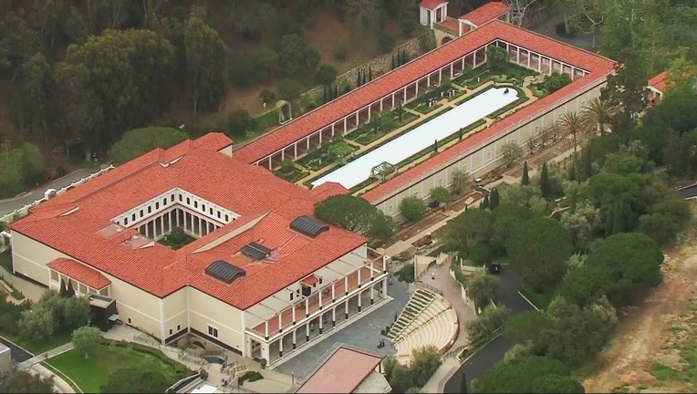 aerial photo from SkyFOX shows the Getty Villa in the Pacific Palisades