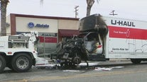 U-Haul pursuit comes to an end in Bellflower after vehicle erupts in flames