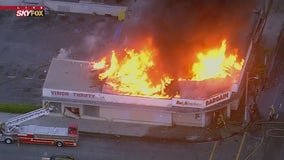Crews battle two-alarm commercial building fire in Compton