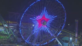 Pacific Park ferris wheel lights up with Memorial weekend salute