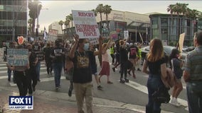 BLM protest in Sherman Oaks draws crowd for one year anniversary of George Floyd's death