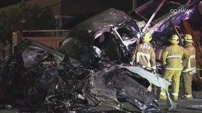 Street racing suspected in deadly 8-car crash in Reseda