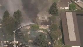 Firefighters battle large blaze in Upland