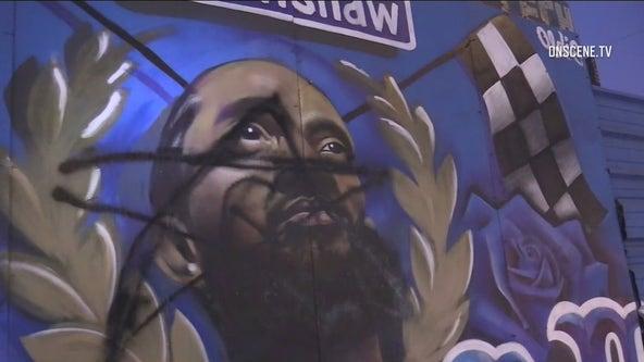 Nipsey Hussle mural vandalized in South Los Angeles