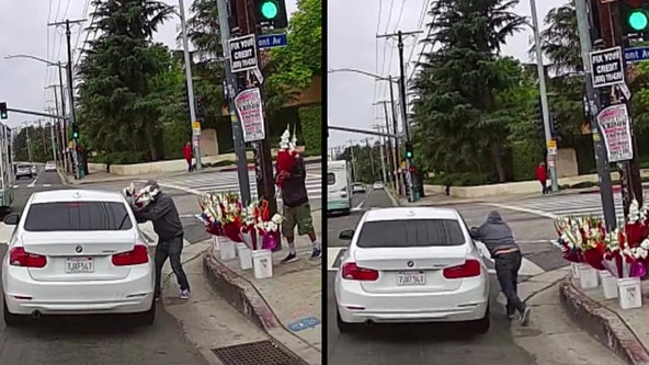 Flower vendor robbed on Mother's Day in Harbor City; crime captured on dash-cam video