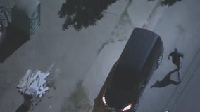 Suspect leads LAPD on chase, hits parked car, ditches van in San Fernando Valley