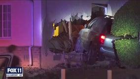SUV plows into Baldwin Hills home, killing woman, critically injuring man