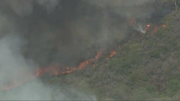 Crews battling brush fire on 73 Toll Road in Orange County