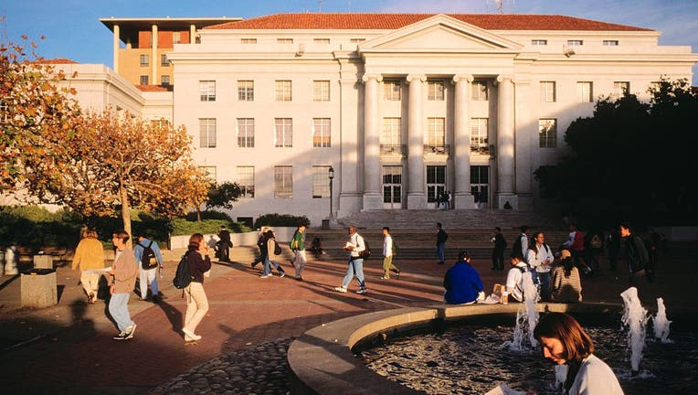 Students Strolling Outside University of California at Berkeley Library
