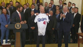 Dodgers visit President Biden at White House to celebrate 2020 World Series title