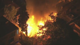 Crews battle massive house fire in East Hollywood