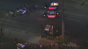 Police chase ends in multiple-vehicle wreck involving LAPD cruiser in Pacoima