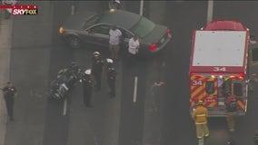 Motorcycle officer injured in West Adams crash