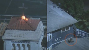Man lights church cross on fire; jumps from rooftop to rooftop in attempt to evade police