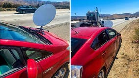 CHP pulls over driver for having satellite dish on hood of car