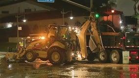 Ruptured water main prompts road closures in Sherman Oaks