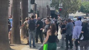 Man stabbed during COVID-19 vaccine protest outside LA City Hall, several others assaulted