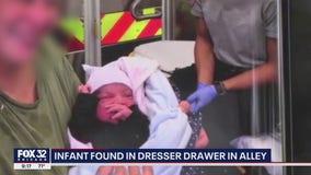 Baby discovered inside discarded dresser in Northwest Side alley