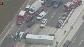 5 Freeway crash: Freeway reopens after overturned big rig closes 5 northbound lanes