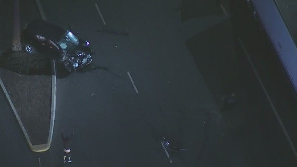 Police chase suspect smashes into semi-truck in South Los Angeles