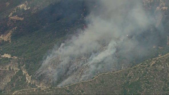 Antonio Fire: Crews battling blaze stemming from burning car in Angeles National Forest