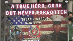 Hundreds gather for vigil to honor Lance Cpl. Dylan Merola, service member killed in Kabul