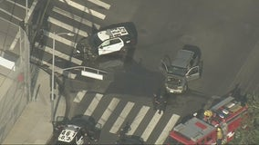 LAPD officer crashes cruiser while chasing possible DUI suspect in South Los Angeles