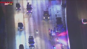 LAPD motorcycle officer suffers major injuries in crash on 210 Freeway