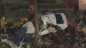 4 hospitalized after vehicle plows into homeless encampment in Koreatown