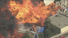 VIDEO: Two massive fires break out at warehouses in Carson and El Sereno