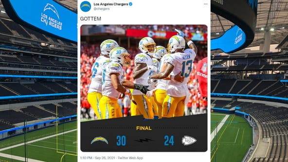 Chargers rally to beat turnover-prone Chiefs in KC