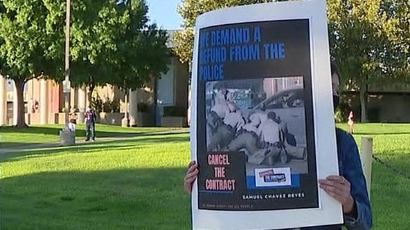 Parents protest LA County Sheriff's deputies policing of schools following rough on-campus arrest