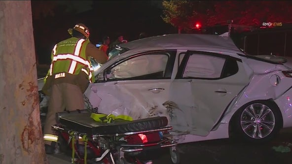 5 hospitalized, 1 arrested after violent crash in Downey caused by possible street racing