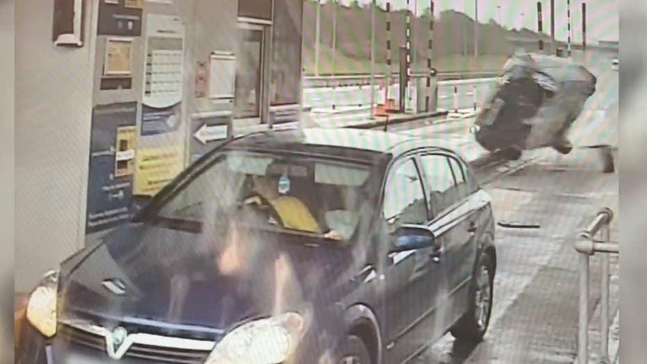 Car crash toll booth