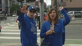 Dodger fans cheer on the Boys in Blue at Oracle Park