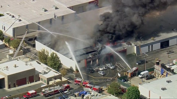 Canoga Park explosion: 3 men injured in commercial building fire