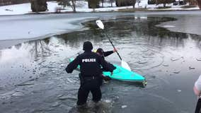 Ohio police, kayaker rescue 'lucky' dog who falls through icy pond