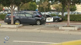 Pedestrian hospitalized after being struck by Redwood City police car