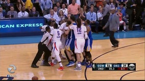 Warriors scuffle on court with Oklahoma City Thunder
