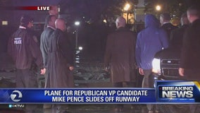 Plane carrying Mike Pence slides off runway