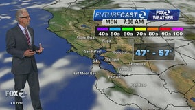 WEATHER FORECAST: Very cool temps Monday morning, chance of a sprinkle