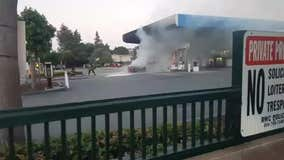 Car catches fire at Redwood City Chevron station