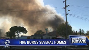 Petaluma fire contained, several structures burned