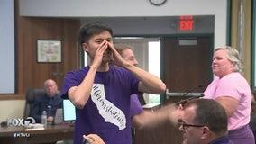 Striking teachers shout down school board, meeting ends