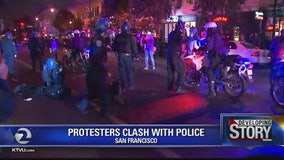 Protesters clash with SFPD in Mission, CHP blocks freeway ramps in Oakland