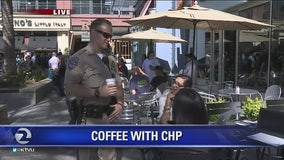 CHP drinking coffee with the community