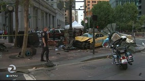 3 hurt when cab jumps curb in SF