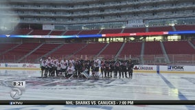 Firefighters play hockey in Oakland to raise awareness about cancer