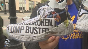 Klay Thompson's custom designed shoes featuring newspaper print sell out quickly